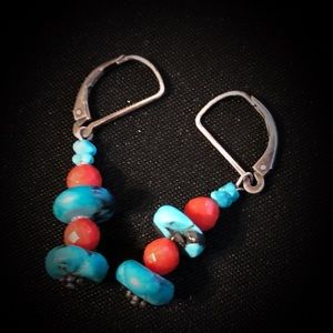 Hand made Turquoise and coral earrings
